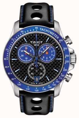 Tissot 男士v8阿尔卑斯蓝色表盘碳纤维表盘黑色真皮 T1064171620101