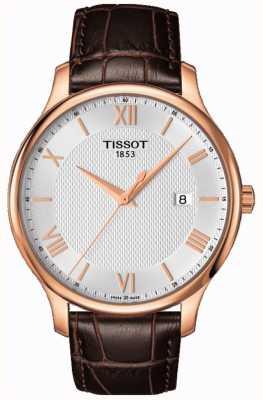 Tissot 男士传统玫瑰金镀银表盘棕色皮革 T0636103603800