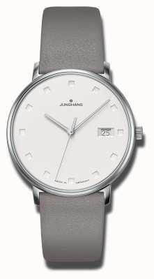 Junghans 形式damen灰色小牛皮表带 047/4853.00