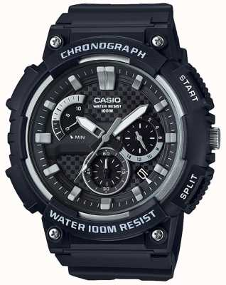 Casio 计时码表黑色树脂情况黑色树脂表带日期显示 MCW-200H-1AVEF