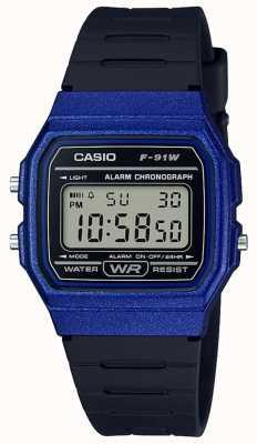 Casio 闹钟计时蓝色和黑色表壳 F-91WM-2AEF