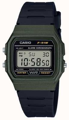 Casio 闹钟计时码表绿色和黑色表壳 F-91WM-3AEF