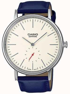 Casio 蓝宝石水晶奶油表盘蓝色真皮表带 LTP-E148L-7AEF