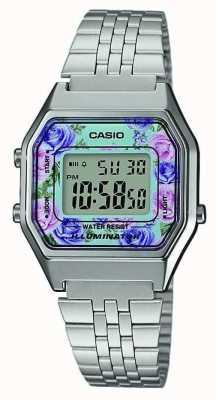 Casio 照明器不锈钢花卉图案拨号 LA680WEA-2CEF