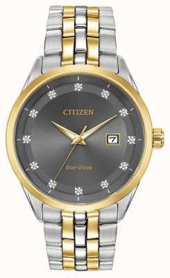 Citizen Corso男士钻石套装灰色表盘双色手镯 BM7258-54H