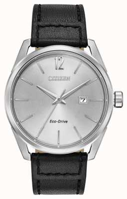 Citizen 男士银色表盘日期显示黑色皮质表带 BM7410-01A