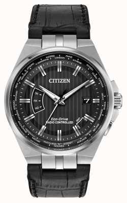 Citizen 黑色表盘黑色皮革表带,永恒的男士世界 CB0160-00E