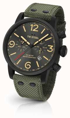 TW Steel Maverick口径计时表绿色帆布表带黑色表盘 MS124