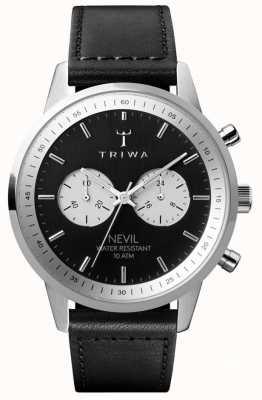 Triwa Slate nevil计时码表黑色表盘黑色皮表带 NEST118-SC010112