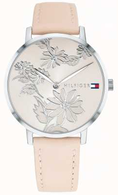 Tommy Hilfiger Pippa粉红色花卉银色印花表盘粉红色裸色皮革表带 1781919