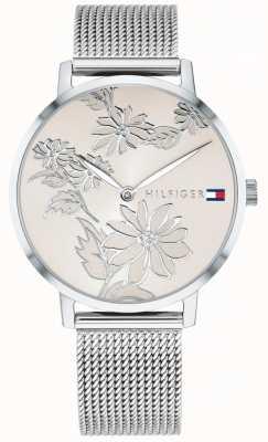 Tommy Hilfiger 皮帕粉色银色花卉印花表盘不锈钢网布 1781920