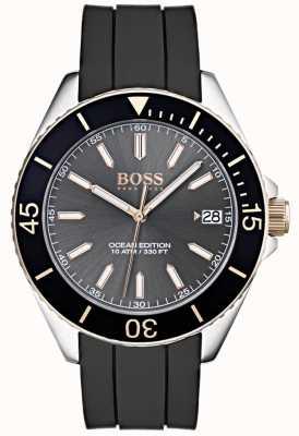 Hugo Boss 海洋版灰色表盘日期显示黑色橡胶表带 1513558