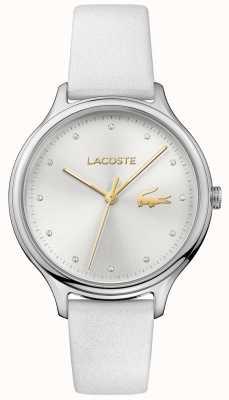 Lacoste 女士constance水晶镶银色表盘白色皮表带 2001005