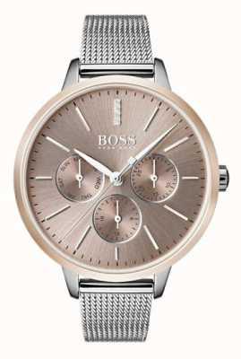 Hugo Boss 黑色交响乐日期和日期显示玫瑰金案例网带 1502423