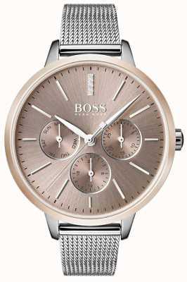 Boss 黑色交响乐日期和日期显示玫瑰金表壳网眼表带 1502423