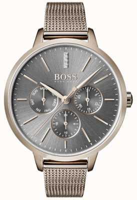 Hugo Boss Symphony灰色表盘日期和日期网格表带 1502424