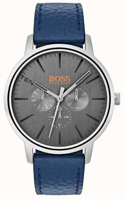 Hugo Boss Orange 灰色表盘日期和日期子表盘蓝色皮革表带 1550066