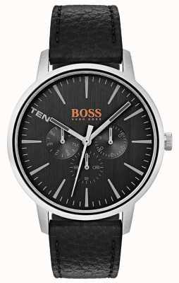 Hugo Boss Orange 黑色表盘日期和日期分为黑色皮表带 1550065