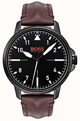 Hugo Boss Orange 黑色表盘深棕色皮表带黑色ip涂层表壳 1550062