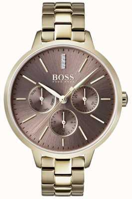 Hugo Boss 女士们交响乐丁香拨号日期和日期次表盘金表壳 1502422