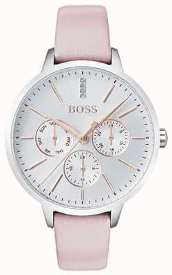 Hugo Boss 银色表盘日期和日期亚盘表盘镶嵌粉红色皮革 1502419