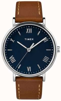 Timex 男士southview 41毫米棕褐色真皮表带蓝色表盘 TW2R63900D7PF