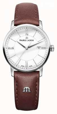 Maurice Lacroix 女装eliros棕色真皮表带银色表盘 EL1094-SS001-110-1