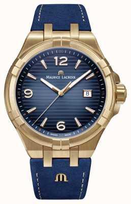 Maurice Lacroix 男士aikon限量版青铜表壳蓝色小牛皮表带 AI1028-BRZ01-420-1
