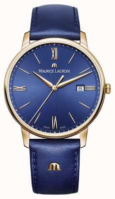 Maurice Lacroix 男士eliros镀金表壳蓝色表盘真皮表带 EL1118-PVP01-411-1