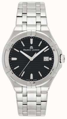 Maurice Lacroix 男士aikon不锈钢表链黑色表盘 AI1008-SS002-331-1