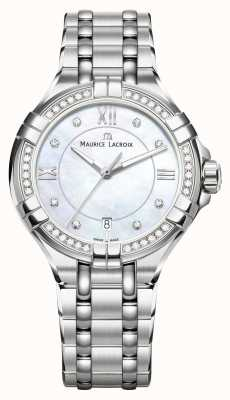 Maurice Lacroix 女式aikon珍珠母贝表盘不锈钢手链 AI1006-SD502-170-1