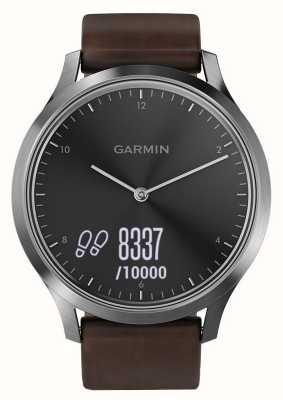 Garmin Vivomove hr(大型)高级活动跟踪器钢/皮革 010-01850-04