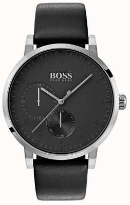Hugo Boss 男士氧气全黑色表带真皮表带日射表盘 1513594