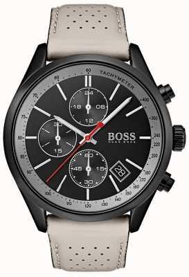 Hugo Boss 男士grand-prix手表黑色计时码表灰色皮表带 1513562