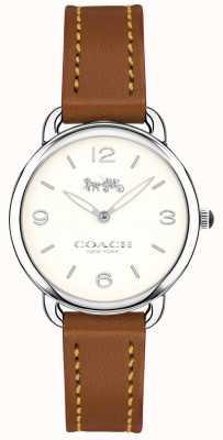 Coach 女士delancey超薄棕色真皮表带白色表盘 14502789