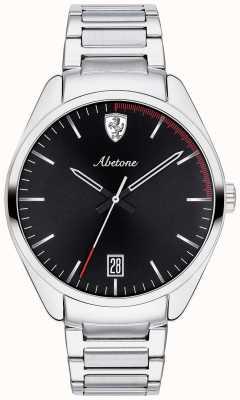 Scuderia Ferrari 男士阿贝托不锈钢表链黑色表盘 0830502