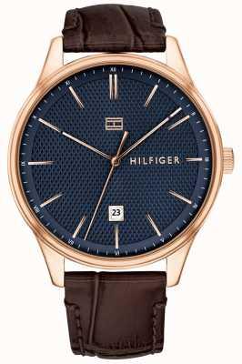Tommy Hilfiger 男士达蒙表棕色真皮表带蓝色表盘 1791493