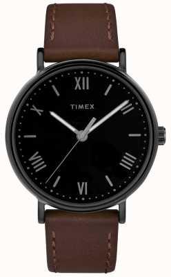 Timex 男士southview 41毫米棕色真皮表带黑色表盘 TW2R80300D7PF