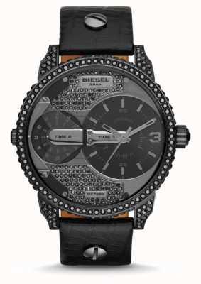 Diesel 男士迷你爸爸黑色真皮表带手表 DZ7328