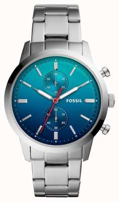Fossil 男装街头手表蓝色ombre表盘不锈钢表链 FS5434
