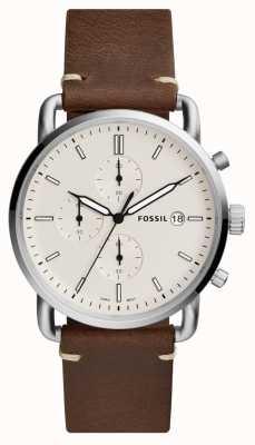 Fossil 男士通勤手表白色计时码表棕色皮革表带 FS5402