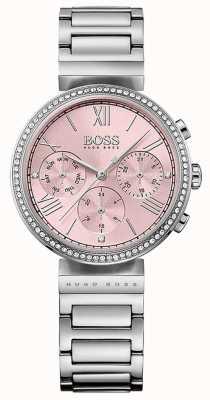 Boss 粉色表盘水晶镶挡表圈不锈钢表链 1502401