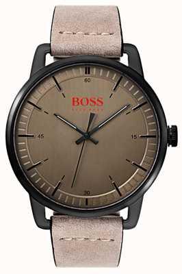 Hugo Boss Orange 斯德哥尔摩男士绒面皮革表带黑色镀镍表壳 1550073