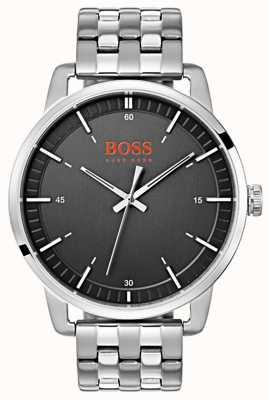 Hugo Boss Orange 斯德哥尔摩男士黑色表盘银色不锈钢表链 1550075
