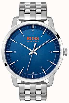 Hugo Boss Orange 斯德哥尔摩男士蓝色表盘银色不锈钢手镯 1550076