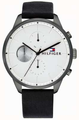 Tommy Hilfiger 男士追逐计时黑色皮革表链白色表盘 1791489