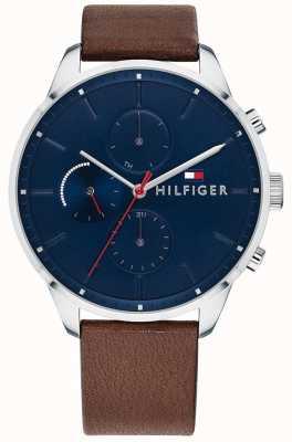 Tommy Hilfiger 男士追逐计时码表棕色皮革表链蓝色表盘 1791487