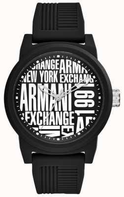 Armani Exchange 男士atlc |黑色硅胶表带| AX1443