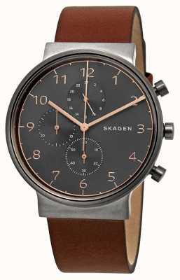 Skagen 男士赭石计时码表黑色表盘棕色皮革表带 SKW6418