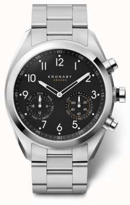 Kronaby 43毫米顶尖黑色表盘不锈钢表链a1000-3111 S3111/1